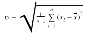 The formula for calculating the σ in standard deviation