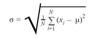 The formula for calculating the σ standard deviation