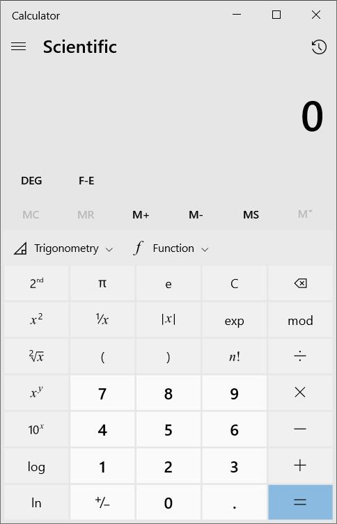 Windows 10 scientific calculator